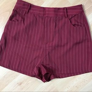 Honey Punch Burgundy Striped Dress Shorts